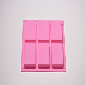 Wholesale 6 Cavity Plain Basic Rectangle Silicone Mould For Homemade Craft Soap Mold Decorating Tools Kitchen Baking Scraper