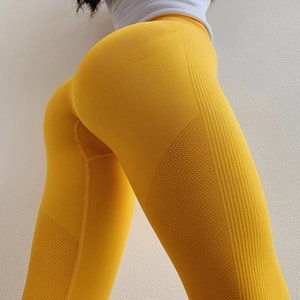 Wholesale TaoBo Women s Yellow Seamless Knitted High Waist Yoga Pants Sexy Training Women s Sports Yoga Pants Running Tights Leggings