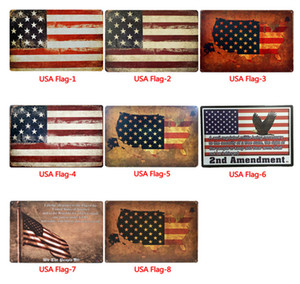 Wholesale USA Flag Tin Signs Metal Vintage Posters USA Flag Wall Metal Plaque Club Wall Home Bar Painting Wall Decor