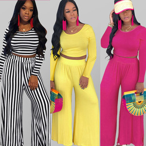 Wholesale Best Selling Elegant Sexy Casual 2 Piece Set Women Long Sleeve Crop Top Long Wide Pants Plus Size Outfits Summer Women Fashion Trend Clothes