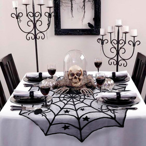 Wholesale Halloween Party Black Lace Spider Web Table Cloth cm Table Covers Window Hanging Horror Halloween Party Decoration