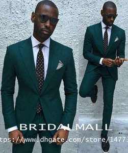 Wholesale Dark Green Slim Men Suits Handsome Mens Dinner Party Wedding Suits Groomsmen Groom Tuxedos Party Prom Business Suits Jacket Pants