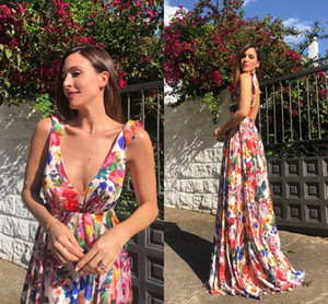 Wholesale Cheap Spaghetti A line Open Back Party Dresses Vintage Deep V Neck Women Summer Beach Maxi Dresses Long Floral Print Prom Cocktail Gown