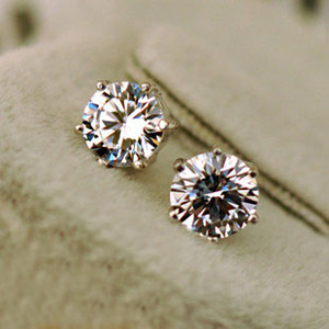 Wholesale High quality S925 Sterling silver ct ct CZ diamond Stud Earrings with Zircon Stone Women men wedding Birthday Gift Bijouterie