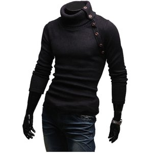 Wholesale 2019 Turtleneck Sweaters Stylish Slim Fit Knitted Long Sleeve Solid Color Men Sweater Male Sweaters Pullover Size Xxl