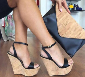 Italy Fashion High Heel Platform Sandal Shoes For Women Summer Wood Grain Wedge Sandals Sexy Party Shoes Large Size 42