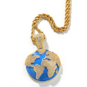 Wholesale Hip Hop The Blue Earth Shape Pendant Necklace Environmental Copper Fashion And Simple Design Zircon Jewelry