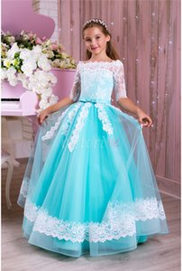 Wholesale Lace Pearls Vintage Flower Girl Dress Half Sleeves Tulle Little Girl Wedding Dresses Beautiful Child Pageant Dresses Gowns