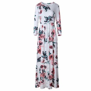 Wholesale Loose Summer Women Dress Bohemia Floral Print Casual Dress Ladies Fashion Women Long Maxi Dress Size S XL