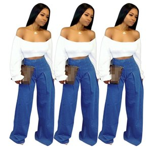 Wholesale Latest Trendy Women Jeans Two Pieces Suits Slash Neck Long Sleeves Short T Shirt and Blue Denim Wide Leg Jeans Fashion Two-pieces Outfits A