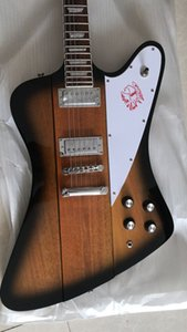 Custom Fire Bird Firebird Thunderbird Vintage Sunburst Electric Guitar Neck Through Body, Banjo Tuners, 2 Mini Humbuckers, Chrome Hardware