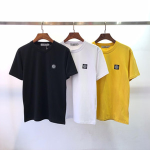 Wholesale New summer men s round collar short sleeve plain European and American men s shirt with embroidered letters