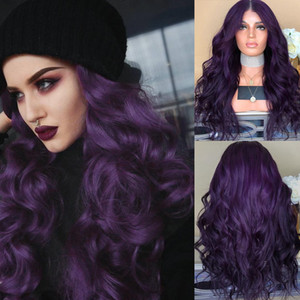 Wholesale Hair wig long curly dark purple black heat resistant synthetic hair wigs for women