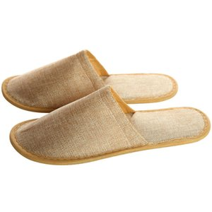 Wholesale Hotel Hotel One time Home Slippers Bedclothes Thick Linen Cotton Non slip Slippers Men s Indoor Guest Shoes Men SH190726