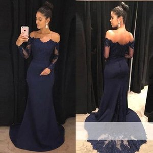Navy Blue Mermaid Lace Evening Prom Dresses Elegant Off Shoulder Long Sleeve Appliqued Train Bridesmaids Dress Mother Dress BA9443 on Sale