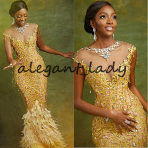 Wholesale Asoebi Styles Gold Mermaid Evening Dresses Kente Latest Ankara style Lace Beaded Feather Cap Sleeve Prom Pageant Dress