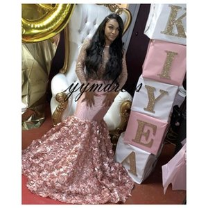 Wholesale Pink Prom Dresses Long Sleeves Black Girls Mermaid Evening Party Gown Rose Flowers Custom Made Plus Size