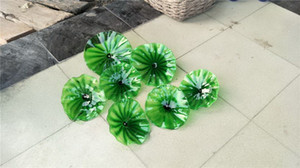 Wholesale Indoor Decorative Murano Glass Flower Plates Wall Art Lamp Dale Chihuly Style Hand Blown Glass Hanging Plates