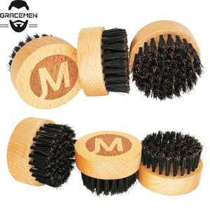 MOQ 100 pcs OEM Custom LOGO Round Wooden Beard Brush Boar Bristle Brush Men Facial Grooming Brush Amazon Hot Sale