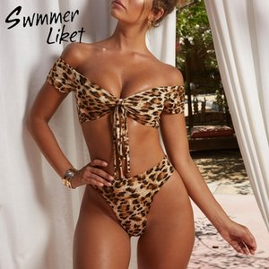 Wholesale Leopard Print Bathing Suit Women High Waist Bikini Brazilian Thong Swimsuit Push Up Knot Swimwear Bathers Micro Bikini Set Y19072401