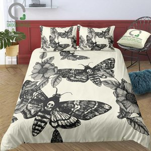 Wholesale skull bedding resale online - 3D Digital Printing Duvet Cover Set Hand painted Head Hawk Moth and Flowers Skull Bedding Set Microfiber