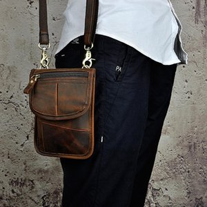 Designer Thin simple Vintage Small Shoulder Messenger 7 inch Crazy horse leather Men Belt Waist Bags wallet For Iphone
