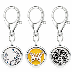 Wholesale Silver Essential Oil Diffuser Keychain DIY mm Aroma Locket Unicorn wolf Key Ring fit pet collar pads