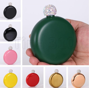 Wholesale Newest Hip Flasks with Rhinestone lid Stainless Steel flagon Mini Hip Flask Round wine pot Flask Portable bottle