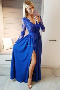 Royal Blue Formal Evening dresses with Long Sleeves Sexy side split plue Size Prom dresses south African 2019 cheap on Sale