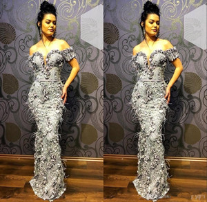 Wholesale Feather Beaded Elegant Grey Mermaid Evening Gowns 2020 Formal Wear Prom Dress Off Shoulder Evening Dresses Abendkleider robe de soiree