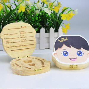 Wholesale Fashion Baby Teeth wooden Storage Box Girls Boys Image Kids Tooth Save Wool Box Creative Gift for Children Trave Kit English Spanish Version