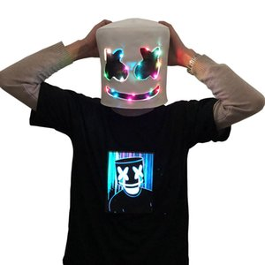 Adult Funny LED Night Light Mask Cap Marshmello DJ Cosplay LED Helmet Party Props Halloween Breathable Headgear MMA2107