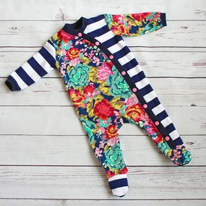 Wholesale INS Infant Baby Boys Girls Jumpsuits Autumn Stripes Floral Printing Patchwork Ribbed Buttons Rompers Velvet Cotton Children Clothing Set