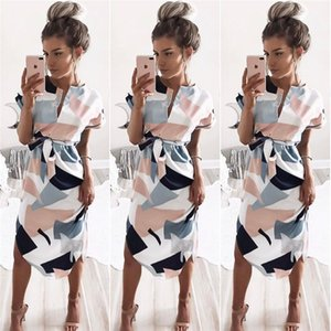 Wholesale Geometric Figure Dress V Neck One Piece Skirt Block Printing Dresses Sexy Women Summer Beach 17fy f1