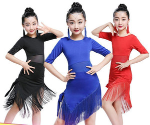 Wholesale Tassel Latin Dance Dress For Girls Children Salsa Tango Ballroom Dancing Dress Competition Costumes Kids Practice Dance Clothing