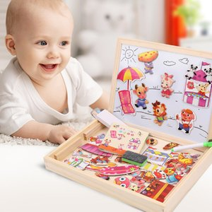 Wholesale Baby Toy Farm Jungle Animal Wooden Magnetic Multifunctional Educational Children Kids Jigsaw Puzzle Drawing Board Wooden Toy