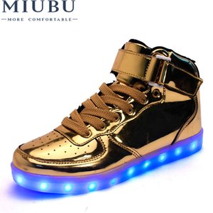 Wholesale MIUBU Hot Sale Golden Silver Big Size Led Shoes Men Glowing Cool Light Flat Shoes High top Light Up Boots For