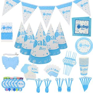 Wholesale Baby Boys Party Decor st Birthday Baby Shower Theme Paper Cup Napkins Plate Table Cloth Kids Happy Birthday Gifts Supplies