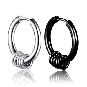 Wholesale Stainless Steel Hoop designer Earrings Puncture Silver Black Rings Ear Stuff men earrings hoop earring designer jewelry drop ship