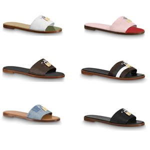 Wholesale chocolate clips for sale - Group buy designer sandal lock it flat mule luxury Slippers for women Genuine leather Flat Flip Flops Clip toe Large size