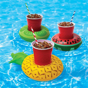 Inflatable drink cup holder colorful cup mat donut flamingo watermelon lemon shaped PVC swimming pool floating mat floating pool toys