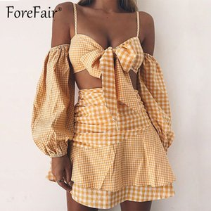 Wholesale Forefair Yellow Plaid Piece Sets Women Sexy Off Shoulder Long Sleeve Tie Bow Camis Tube Crop Top Ruffles Short Skirt Suits C19041601