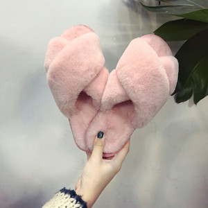 Wholesale Fashion Shoes Indoor Home Soft Plush Slippers Cotton Drag Floor Plush Slippers Female Slip resistant Cotton s239