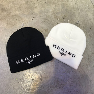 KERING Embroidery Beanies Knitted Winter Hats For Women Men Bonnet Hip Hop Caps Cashmere Skull Harajuku Punk Street Casual Warm Unisex 2019