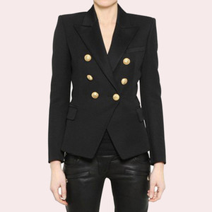 EXCELLENT QUALITY 2018 Stylish Classic Designer Blazer for Women Double Breasted Lion Metal Buttons Blazer Plus Size S-3XL