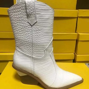 TOP-Quality White Beige Black Yellow Faux Leather Cowboy Ankle Boots for Women Wedge High Heel Boots Snake Print Western Cowgirl FEN05