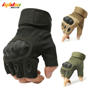 Men's Half Finger Gloves Army Tactical Gloves Women Motocycel Bicycle Mittens Black Leather SWAT M-XL