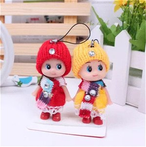 Wholesale 8CM Ddung Pendant Lovely Lattice Clown Ornaments Mobile Phone Small Dolls Toy Keychains Key Ring Holder Mobile Phone Accessories Toys