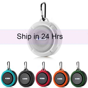 20X freeshipWireless Bluetooth Handsfree Waterproof Mic Suction Mini Speaker Shower Bath C6 FreeShip Bluetooth Speaker wifi wireless Version