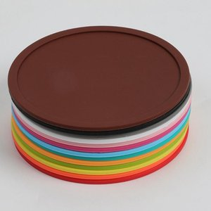 Wholesale round silicone placemats resale online - Silicone Coaster Non Slip Table Mats Round Cup Pad Heat Resistant Silicone Placemats for Cafe Kitchen Restaurant HHA913